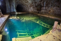 Abandoned and flooded mine in Ural Mountains