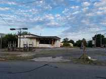 Abandoned and gutted gas station