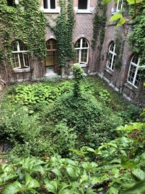 Abandoned and overgrown priory Amay Belgium