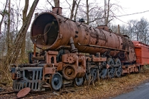 Abandoned and rusting locomotive of the New Hope and Ivyland Railroad
