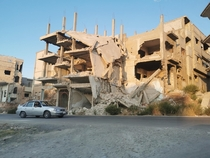 Abandoned apartment complex in Homs affected by war