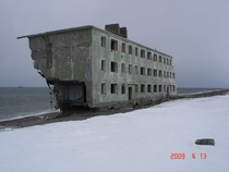 Abandoned apartment complex on the beach in Russian Kamchatka