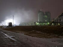 Abandoned Asphalt Oxidiser Plant at my work love how the steam is playing off the lights