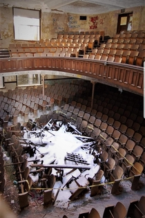 Abandoned auditorium in rural Iowa