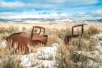 Abandoned automobiles in rural Idaho