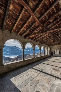 Abandoned balcony overlooking the Alps in Italy
