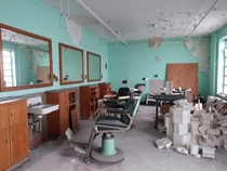 Abandoned barber shop in a former male mental institution