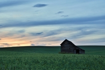 Abandoned barn at sunset in northwestern Idaho