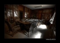 Abandoned board meeting room at Danvers State Hospital Kirkbride Complex Massachusetts