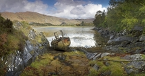 Abandoned boat at beautiful landscape Scotland by Katybun of Beverley