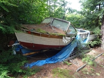 Abandoned boat by Lake Winnisquam New Hampshire  link to small album inside