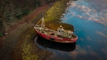 Abandoned boat in Donegal Ireland at sunset x