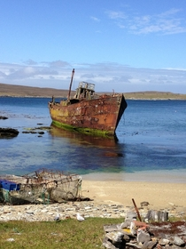 Abandoned boat in the Chatham Islands New Zealand