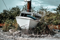 Abandoned boat in the Florida Everglades wildlife management area