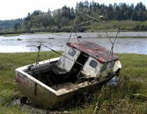 Abandoned Boat on Smith River near Reedsport OR