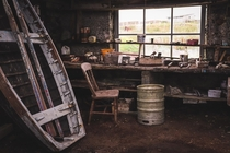 Abandoned boatbuilders workshop previously used by the Stewart family for hundreds of years- Isle of Grimsay Outer Hebrides Scotland