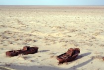 Abandoned boats on the bottom of the dried-out Aral Sea