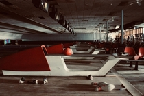 Abandoned bowling alley - complete with all the balls pins and shoes you could ever dream of