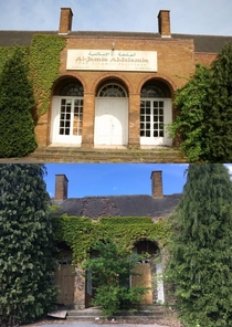 Abandoned boys boarding school Al-Jamia Al-Islamia institute Top picture taken in  bottom picture taken today