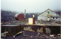 Abandoned british research station after volcano eruption on Deception Island Antarctica