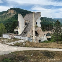 Abandoned brutalist hotel in Bosnia