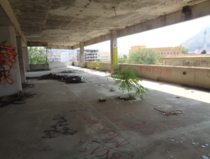 Abandoned building full of graffiti in Bosnia You can still see the bullet holes in the walls