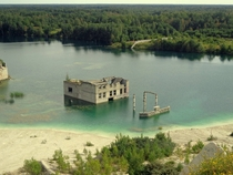 Abandoned building in a quarry Rummu Estonia