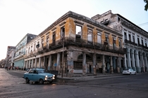 Abandoned building sits on a corner in Havana