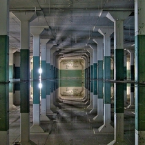 Abandoned building that flooded creating a surreal image