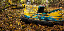 Abandoned bumper cars in Chernobyl amusement park Its  meters away from the famous Ferris wheel