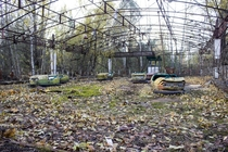 Abandoned bumper cars in Pripyat Ukraine