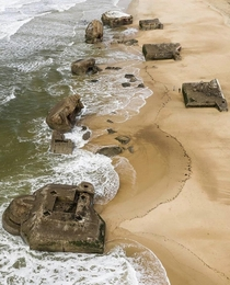 Abandoned bunkers from World War II located on the west coast of France