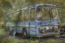 Abandoned bus sits deep in the woods not sure how it got there by Andre Govia