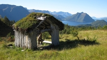 Abandoned cabin with a mossy rooftop in the Norwegian mountains with the Fjords in the background Anonymous Photographer