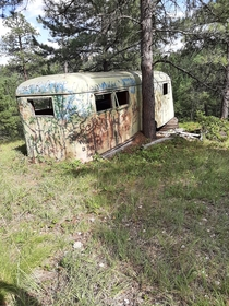 Abandoned camper hidden in the Black Hills of SD
