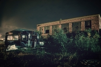 Abandoned camper van and factory Titanic Quarter Belfast