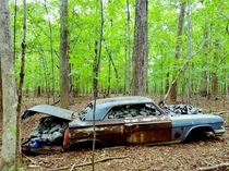 Abandoned car full of rocks Hillsborough NC