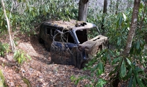 Abandoned car I came across while backpacking in the Snowbird Mountains Nantahala National Forest North Carolina