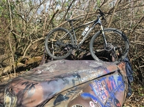 Abandoned car on side of bike path Phoenix Oregon