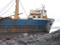 Abandoned cargo ship just ran aground off the coast of Cork Ireland