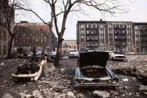 Abandoned cars and buildings in The Bronx New York