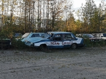 Abandoned cars at an old racing track Flendalen Norway