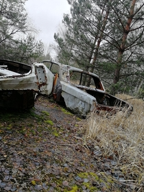 Abandoned cars in the Chernobyl Exclusion Zone
