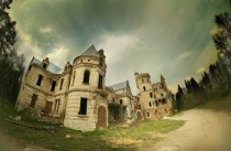 Abandoned castle in Russian countryside