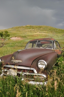 Abandoned Chevy on the North Dakota prairie
