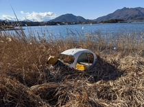 Abandoned childs boat near Lake Kawaguchi near Mt Fuji Japan