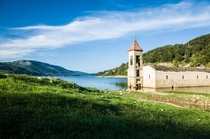 Abandoned Church in Lake Mavrovo Macedonia  OC