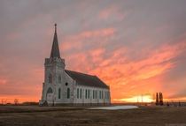Abandoned church under a Midwest sunset