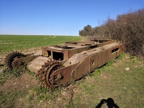 Abandoned Churchill MK tank near Kithurst Hill South Downs Sussex