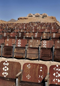 Abandoned cinema in the desert